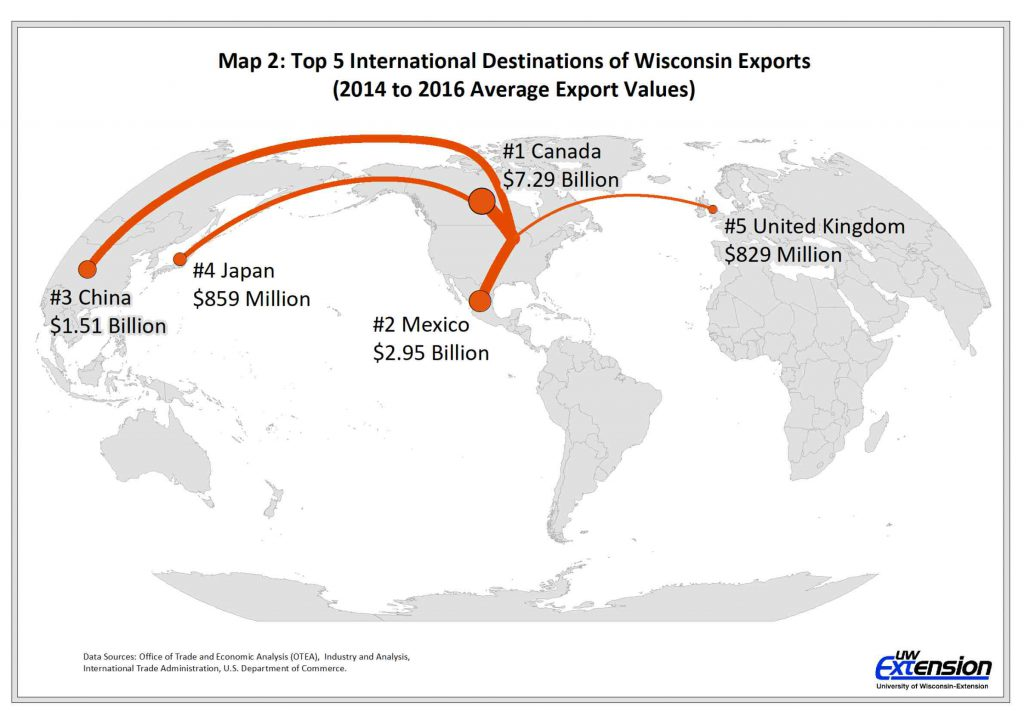 Top 5 International Destinations of Wisconsin Exports (2014 to 2016 Average Export Values). By WIndicators/UW-Extension Center for Community & Economic Development.