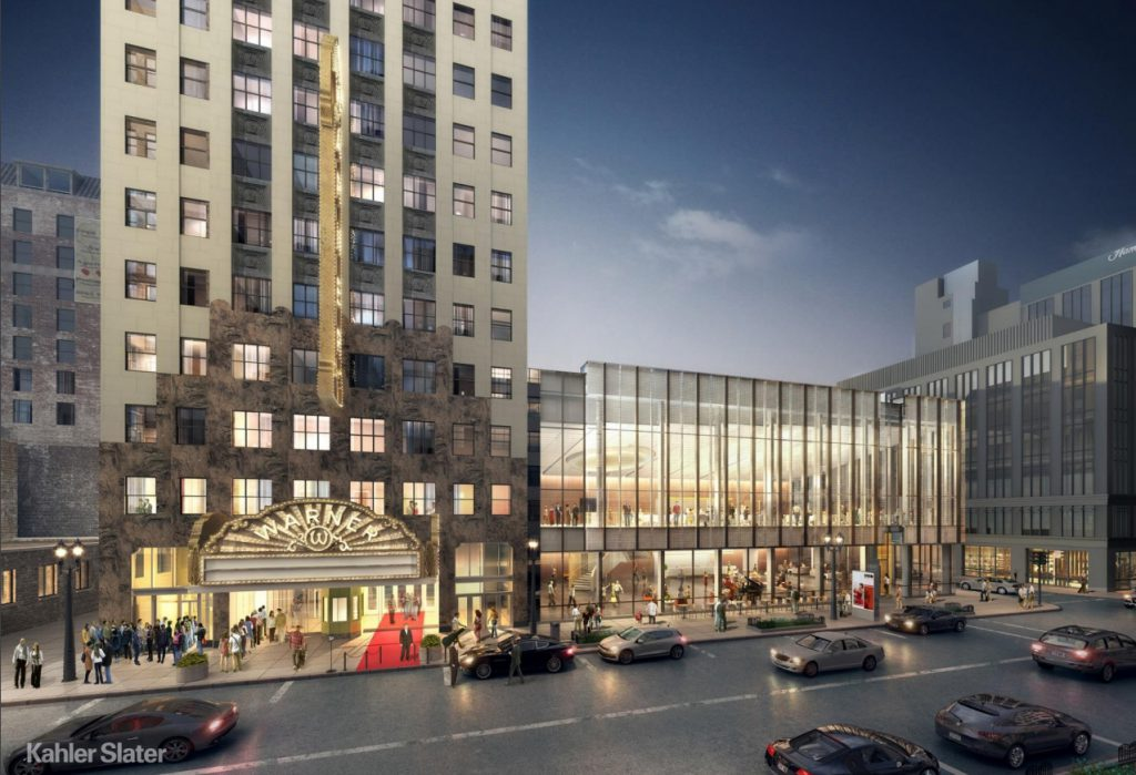 Warner Grand Theatre. Rendering by Kahler Slater Architects.