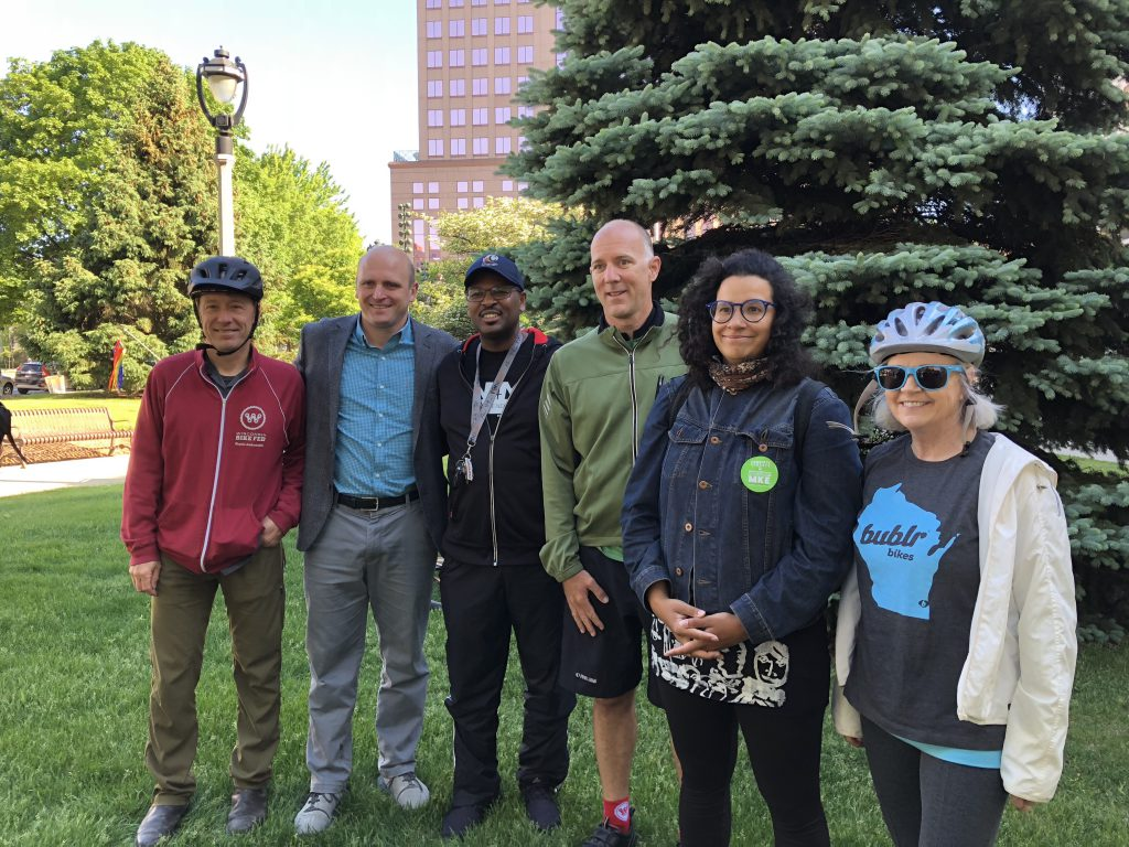 Bike to Work Week Participants. Bike Fed Dir Dave Schlawbowske, Alderman Nik Kovac, Alderman Ashanti Hamilton, City Engineer Jeff Polenske, Bike Fed staffer Caressa Givens, Bublr director Sally Sheperdson. Photo by Jeramey Jannene.