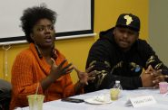 """Markasa Tucker (left), seen here speaking on an NNS panel with Vaun Mayes, hopes the Fire and Police Commission will not """"water down"""" any recommendations from the Milwaukee Collaborative Reform Initiative community committee. Photo by Elizabeth Baker."""