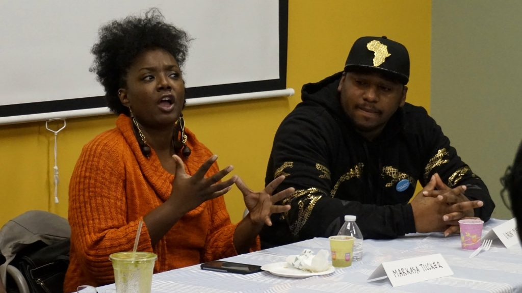 "Markasa Tucker (left), seen here speaking on an NNS panel with Vaun Mayes, hopes the Fire and Police Commission will not ""water down"" any recommendations from the Milwaukee Collaborative Reform Initiative community committee. Photo by Elizabeth Baker."