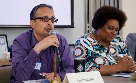 Panelists Ian Bautista and Danell Cross discuss the role of data in neighborhood revitalization. Photo by Sophie Bolich.