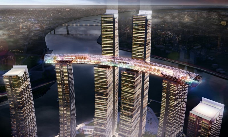 An artist's depiction of Raffles City Chongqing. Image by Safdie Architects.