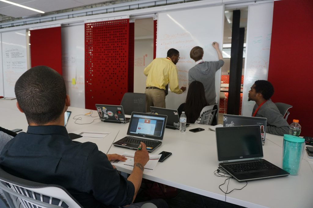Participants at i.c. stars brainstorm goals for a website and app development project. Photo by Abby Ng.