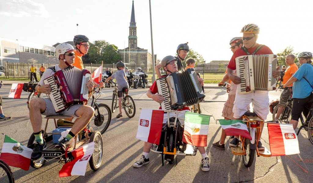 Kicking off the Polish Moon Ride with the National Anthem. I will try to get four accordion players this year. You can never have too many accordions!