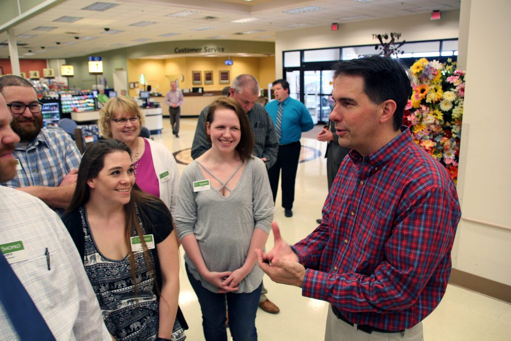 Walker speaks to Shopko employees during a campaign stop in Sussex. Shawn Johnson/WPR