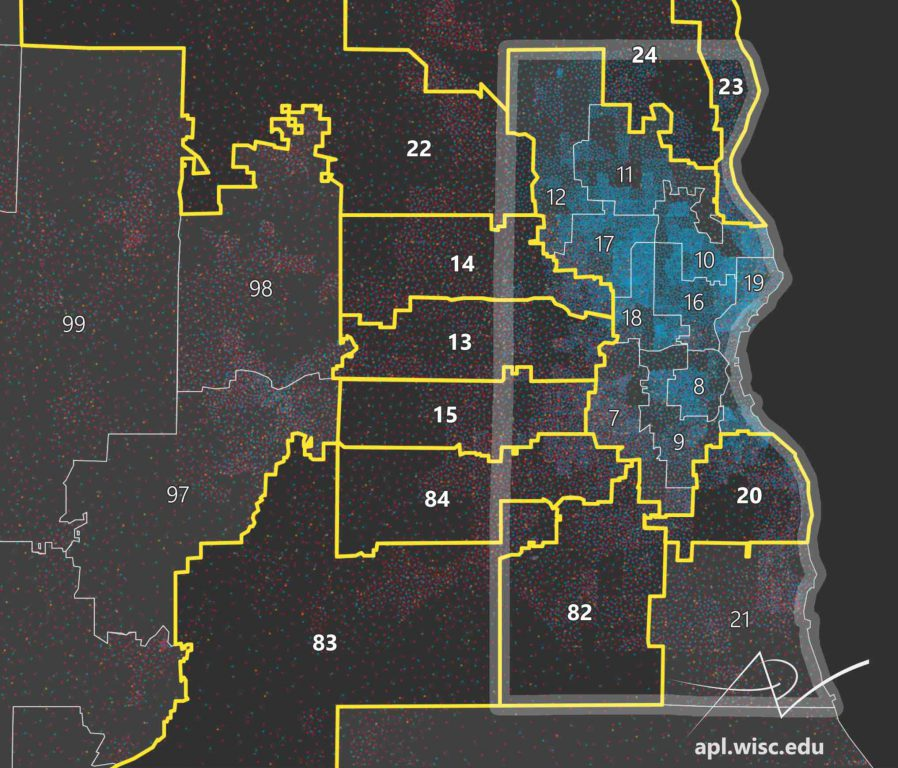 The 2011 Wisconsin Assembly districts surrounding Milwaukee show evidence of cracking, one method of electoral gerrymandering. Map by Caitlin McKown/UW Applied Population Lab.