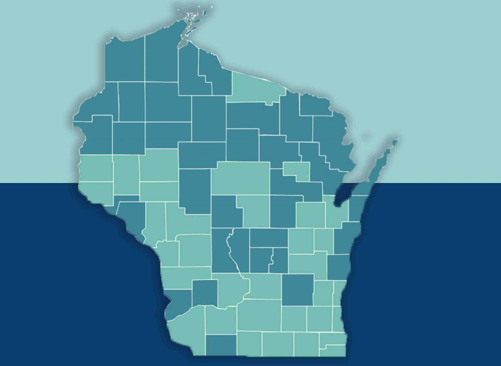 Just over half of Wisconsin's counties experienced population growth over 2010-17, based on U.S. Census figures, with counties shaded aqua gaining residents and those shaded blue losing them. Most of the gains are in the central and southern parts of the state, while many rural areas have lost population. Illustration by Scott Gordon and Kristian Knutsen.