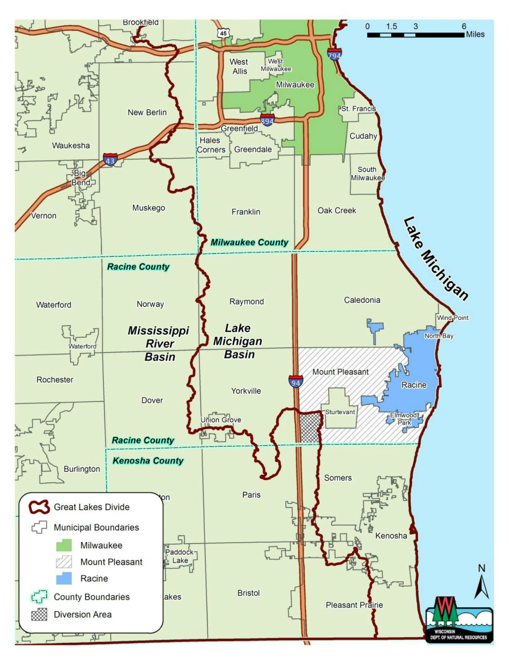 The Foxconn complex is located outside the Great Lakes Basin but would be served by the Racine Water Utility. Map from the Wisconsin Department of Natural Resources.