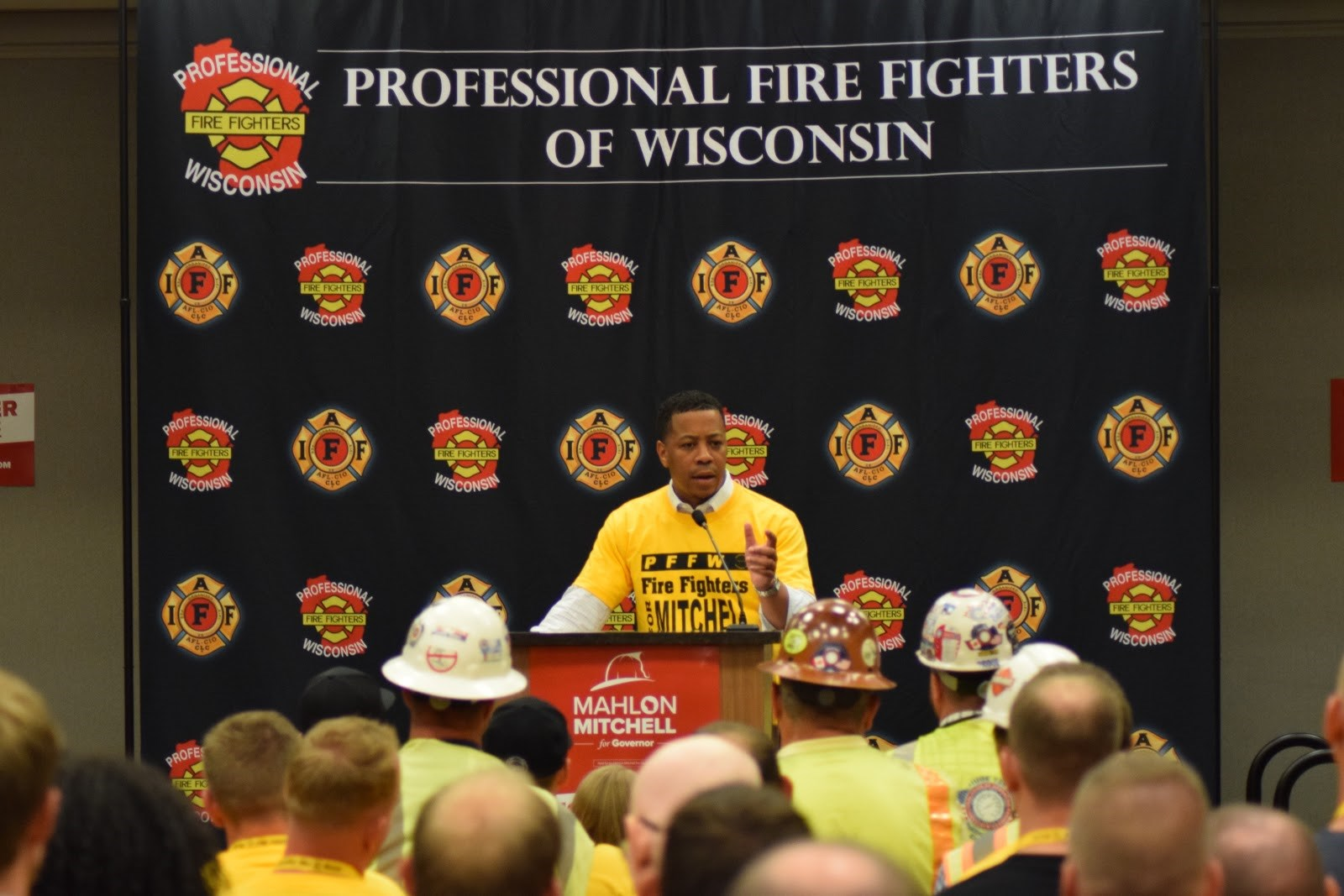 Democratic gubernatorial candidate Mahlon Mitchell speaks to over 200 supporters at Monday rally in Madison. Photo courtesy of Mahlon Mitchell for Wisconsin.