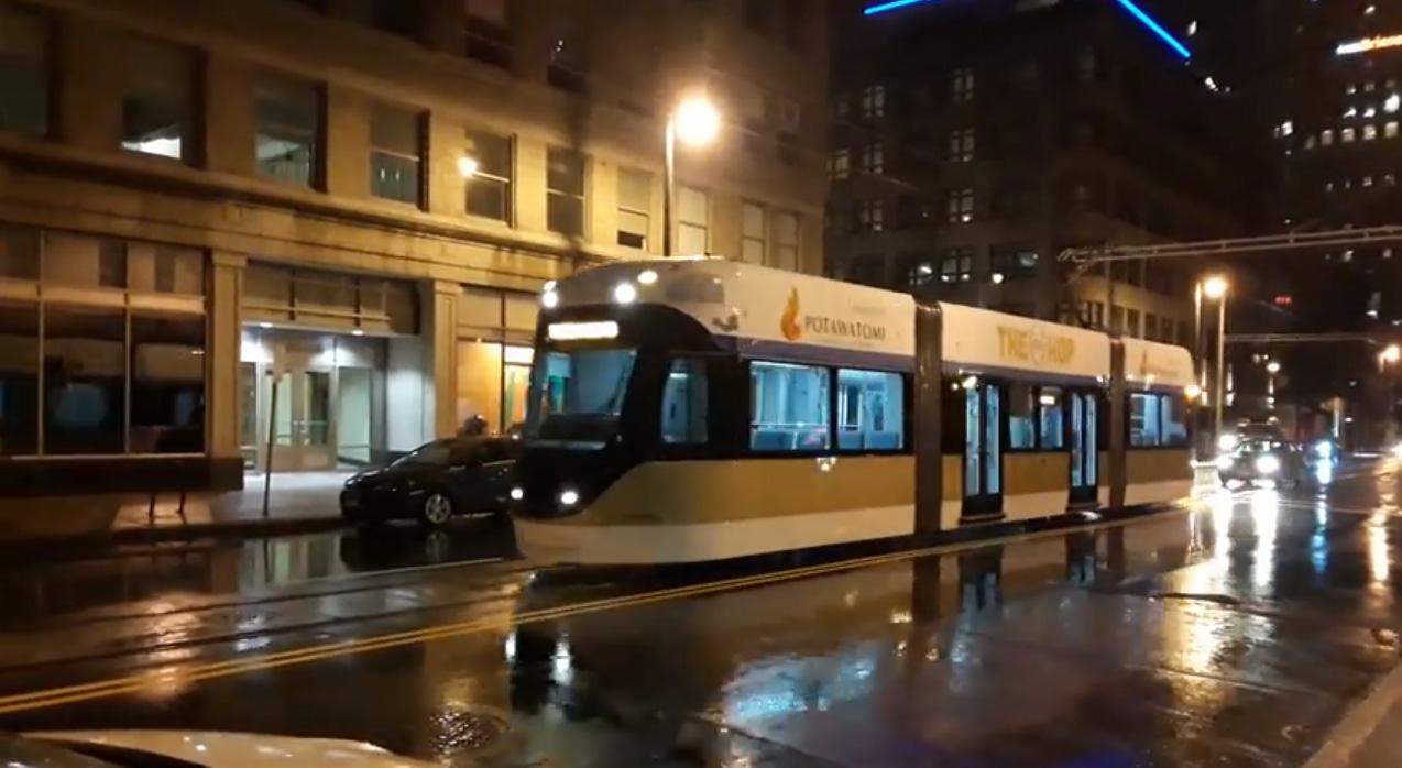 Late night streetcar test. Video by Warren Johnston.