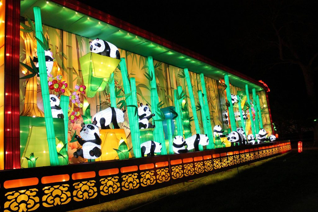 Panda display from the 2017 China Lights at Boerner Botanical Gardens Photo courtesy Milwaukee County Parks.