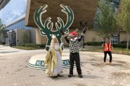 Bango and a guest welcome the press to the Christkindlmarket announcement. Photo by Jeramey Jannene.