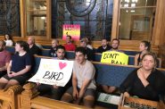 Bird scooter advocates at Milwaukee City Hall. Photo by Jeramey Jannene.