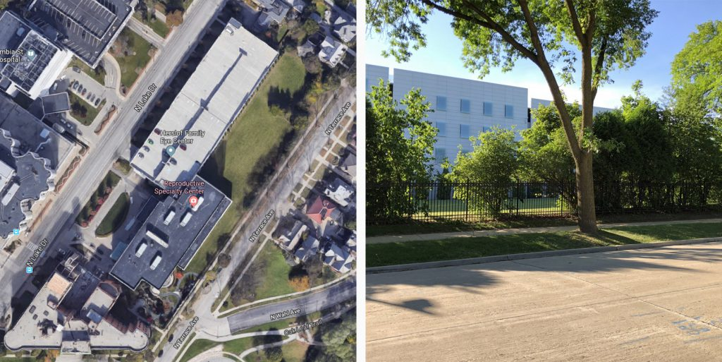 The proposed development site. Left image from Google Maps. Right image by Jeramey Jannene.