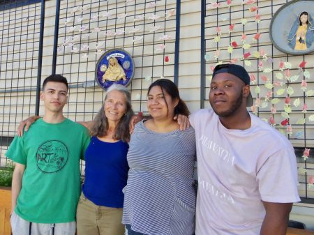 A team of local artists spearheaded the art installation. From left: Lucas Alamo, Lori Gramling, Kathy Carlos and Tray Richardson. Photo by Robyn Di Giacinto.