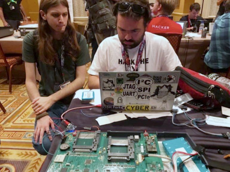 At the Voting Machine Hacking Village demonstration in July 2017, hackers attending the DEFCON conference in Las Vegas managed to breach more than 25 voting machines and voter registration systems used in the United States. Photo courtesy of DEFCON.