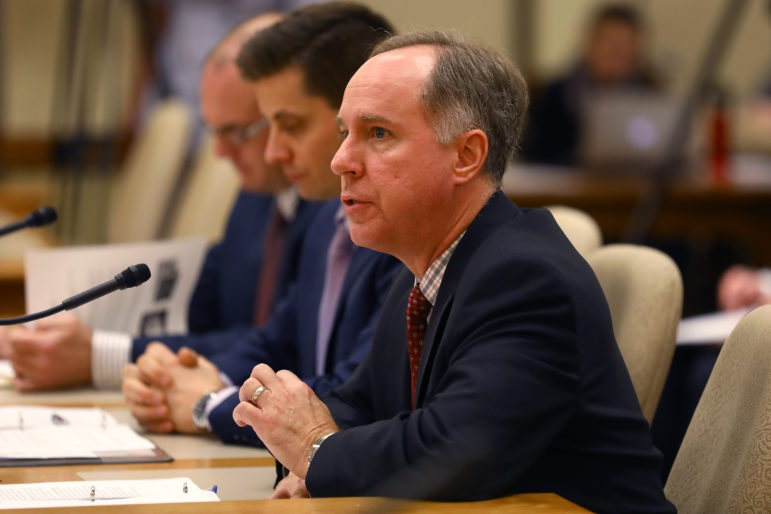 "Assembly Speaker Robin Vos, R-Rochester, speaks during a Jan. 31, 2018 hearing at the state Capitol on a package of welfare bills as part of a special session of the Wisconsin Legislature. Vos said the changes are needed because ""public assistance was never intended to be permanent."" Photo by Coburn Dukehart/Wisconsin Center for Investigative Journalism."