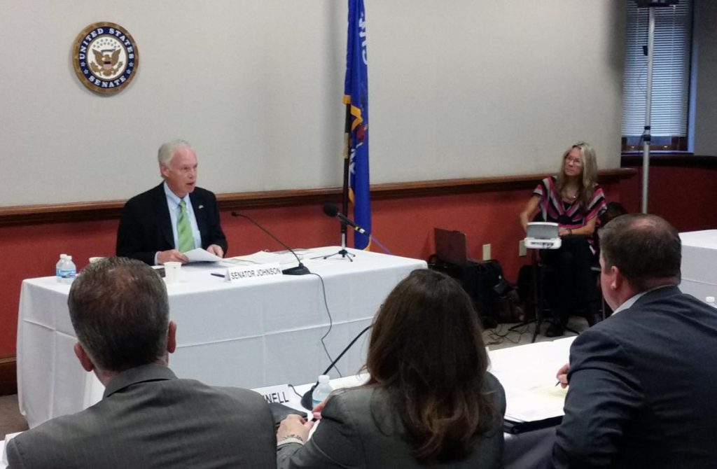 Johnson hears from business representatives on trade issues at a Milwaukee event Monday. Photo by Chuck Quirmbach/WPR.