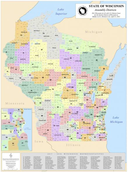 The Wisconsin Assembly district map at issue in Gill v. Whitford was approved in 2011. From the State of Wisconsin.