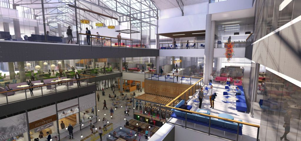 Conceptual rendering of the Grand Avenue Mall converted to office space and a food hall. Rendering from The Kubala Washatko Architects.