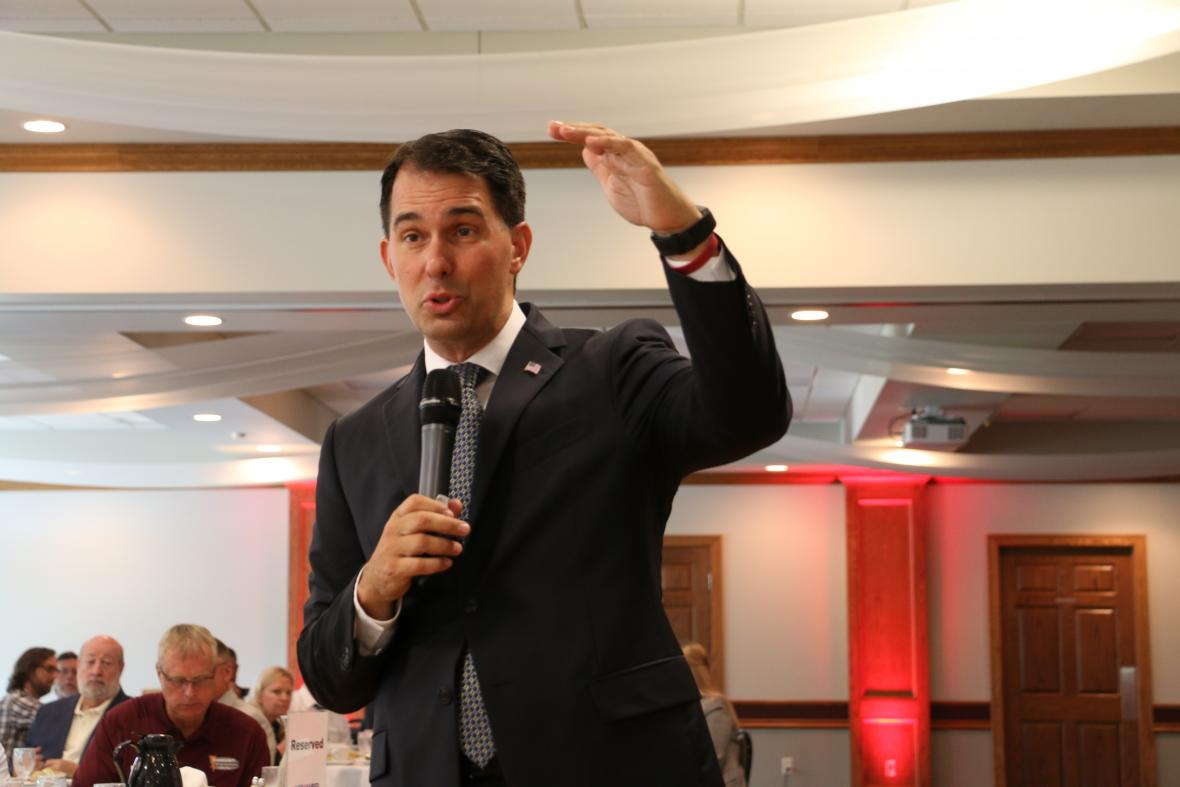 Gov. Scott Walker addresses the Eau Claire Chamber of Commerce Wednesday, July 11, 2018. After his speech he told reporters it was pure speculation to say President Donald Trump's nomination of Brett Kavanaugh for the U.S. Supreme Court would lead to Roe v. Wade being overturned. Photo by Rich Kremer/WPR.