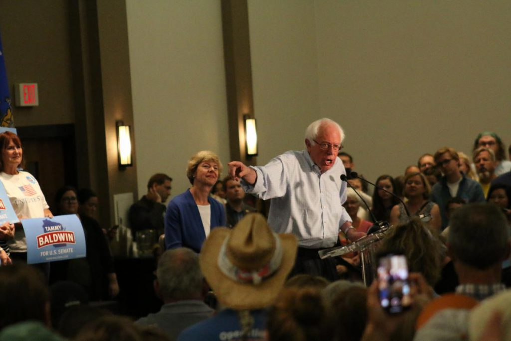 U.S. Sen. Bernie Sanders rallied Democrats` in Eau Claire to support Democratic U.S. Sen. Tammy Baldwin's re-election campaign. Baldwin is considered a top target of Republicans hoping to flip her seat. Photo by Molly Dove/WPR.