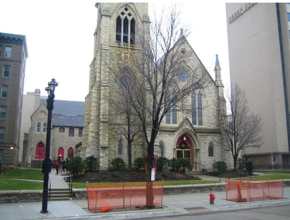 St. James Episcopal Church. Parish house is at the rear of the church. Photo by J. Jeffers & Co.