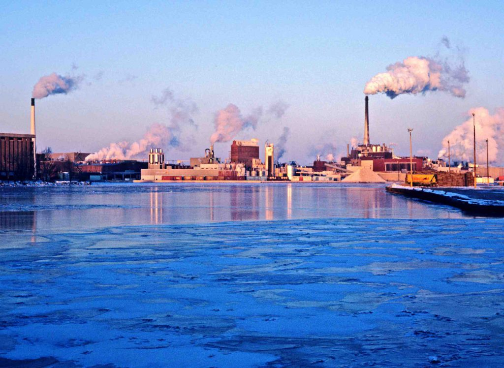 Paper mills are a longstanding Wisconsin industry, and can be found around the state, including on the Fox River in Green Bay. Photo from the Wisconsin Department of Natural Resources (CC BY-ND 2.0)