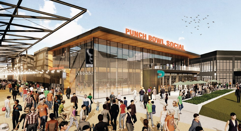 Punch Bowl Social. Rendering by Rinka Chung Architecture.