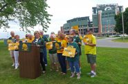 "Sen. Tammy Baldwin introduces her ""Go Pack Go"" bill on Friday, July 20, 2018. Patty Murray/WPR."