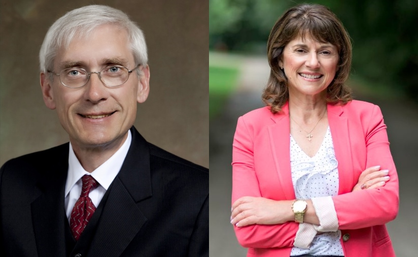 Tony Evers and Leah Vukmir.