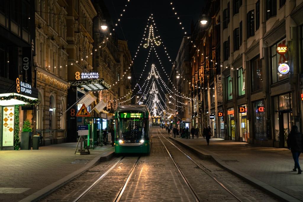 A tram in Helsinki. Photo is in the Public Domain.