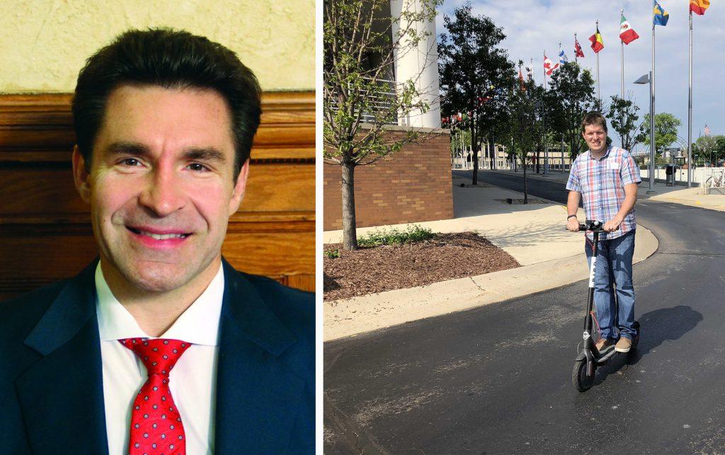 Tony Zielinski and a Bird scooter.