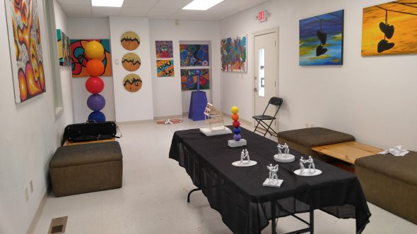 Paintings and sculptures featured inside Jazale's Art Studio. Photo by Zach Komassa.