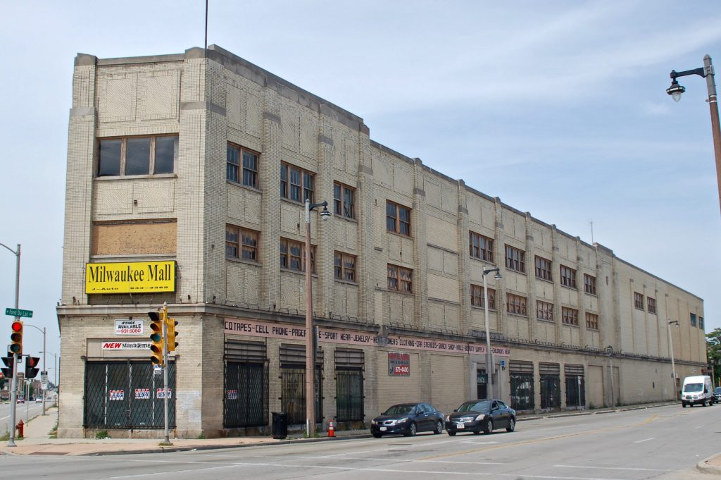 Once owned by Sears Roebuck & Co., the building that has housed the Milwaukee Mall since the early 1990s is vacant and ready for redevelopment. Photo by Andrea Waxman.