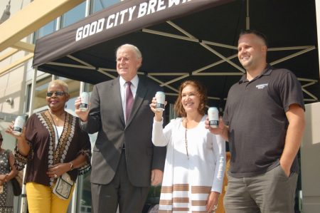From left to right, Yvonne McCaskill, Mayor Tom Barrett, Linda Gorens-Levey, a partner at General Capital, and Good City co-founder Dan Katt celebrate outside Century City 1. Photo by Jenny Whidden.