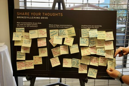 "Workshop attendees were able to give suggestions at the final ""share your thoughts"" station. Photo by Abby Ng."