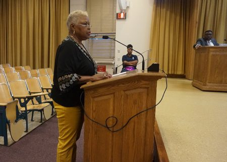 North Division Alumni Association president Yvonne McCaskill addresses the school board in support of the 53206 initiative. Photo by Ryeshia Farmer.