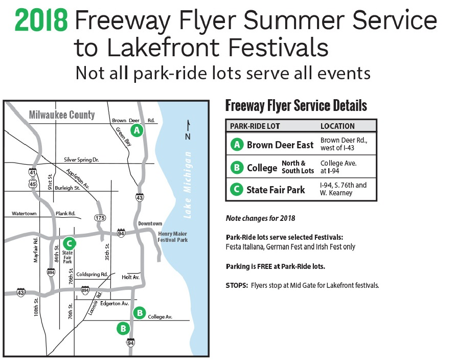 2018 Freeway Flyer Summer Service to Lakefront Festivals