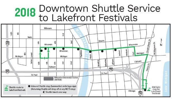 2018 Downtown Shuttle Service to Lakefront Festivals