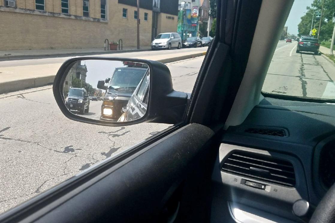 Edgar Mendez took this photo as police ran his ID on West Lincoln Avenue. Photo by Edgar Mendez/NNS.