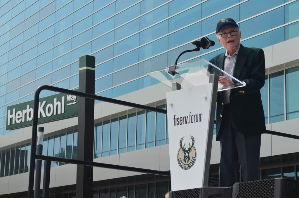 Herb Kohl speaks at the Fiserv Forum grand opening. Photo by Jack Fennimore.