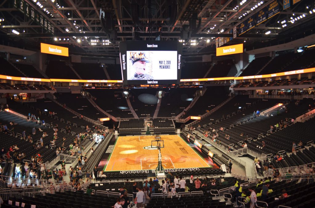 The seating bowl at the Fiserv Forum. Photo by Jack Fennimore.
