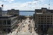Downtown Madison, WI with the Monona Terrace in view. Photo by Mariiana Tzotcheva.