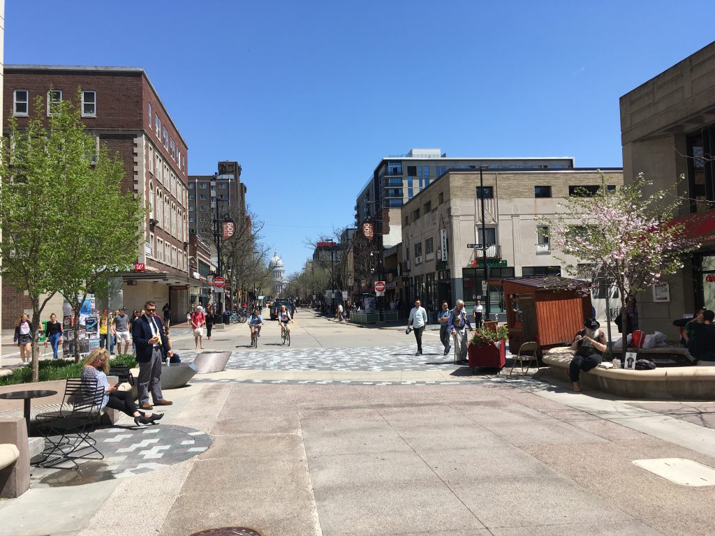 State St. in downtown Madison, WI. Photo by Mariiana Tzotcheva.
