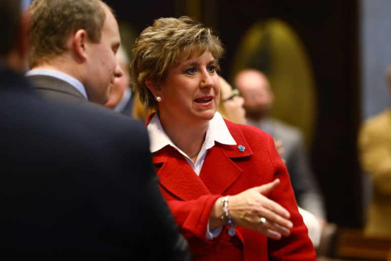 """Senate Minority Leader Jennifer Shilling, D-La Crosse, says: """"It's become standard practice now for Republicans to meet with their donors and corporate lobbyists behind closed doors, write a bill in secret, and then pass it in a matter of days without any public input."""" She is seen at the State of the State address at the Wisconsin State Capitol in Madison, Wis., on Jan. 10, 2017. Photo by Coburn Dukehart / Wisconsin Center for Investigative Journalism."""