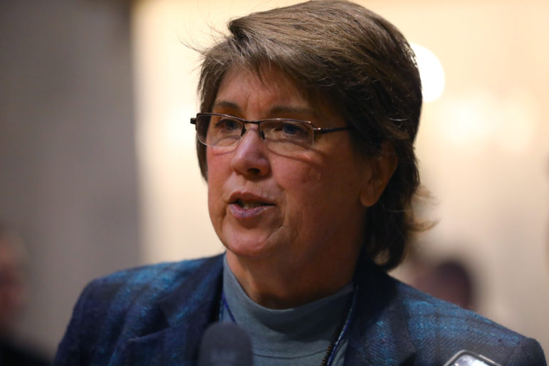 Wisconsin state Sen. Kathleen Vinehout, D-Alma, has been outspoken about bills that move too quickly. She believes such fast-tracking hampers democracy by leaving regular people out of the political process. Photo taken Jan. 24, 2018. Photo by Coburn Dukehart / Wisconsin Center for Investigative Journalism.
