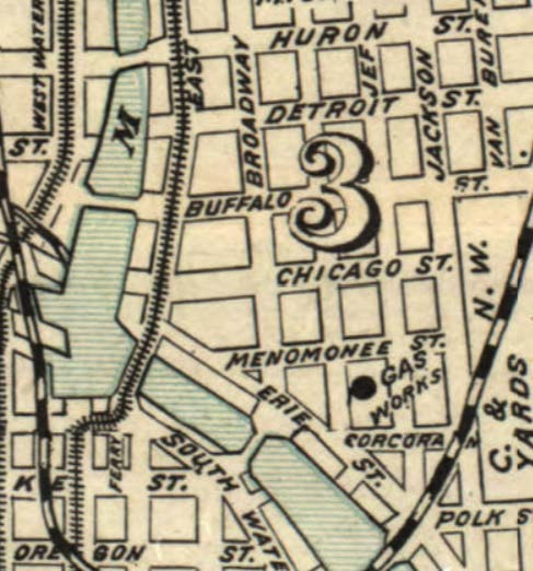 Broadway before it was closed at Menomonee and before N. Young St. was created. Map from the University of Wisconsin-Milwaukee Libraries.