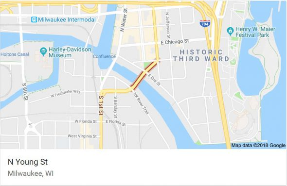 This Goolge map shows N. Young Street crossing the Milwaukee River.